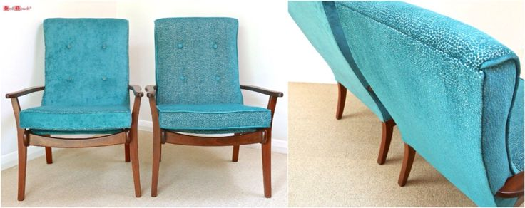 Teal fabric. Recovered retro Morgan furniture armchairs