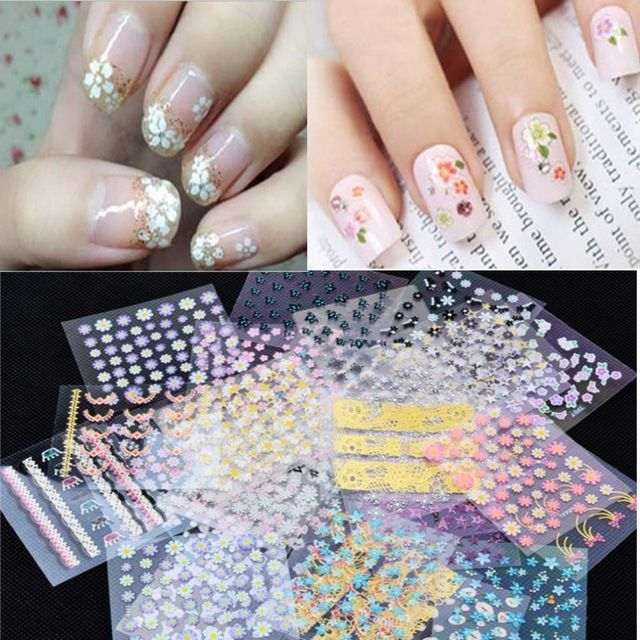 50 Sheets/Lot 3D Mix colour Nail Art Sticker Tips Decal Fashion Flower Tip DIY Decoration Sticks Nail Art Manicure Accessories