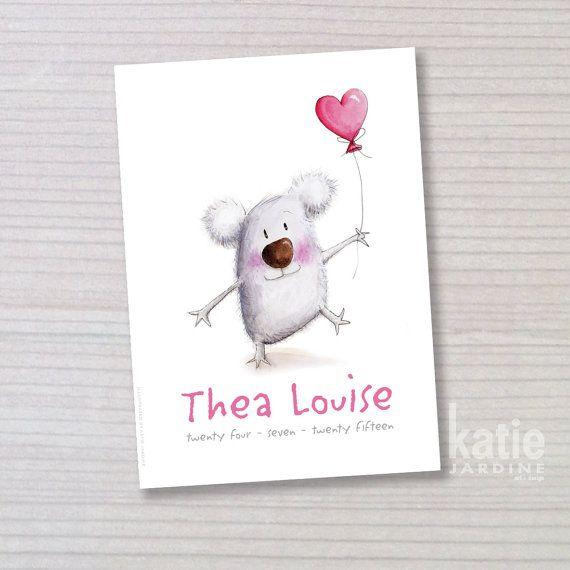 koala love - girl name print - childrens wall art - nursery art - on Etsy, $25.00 AUD