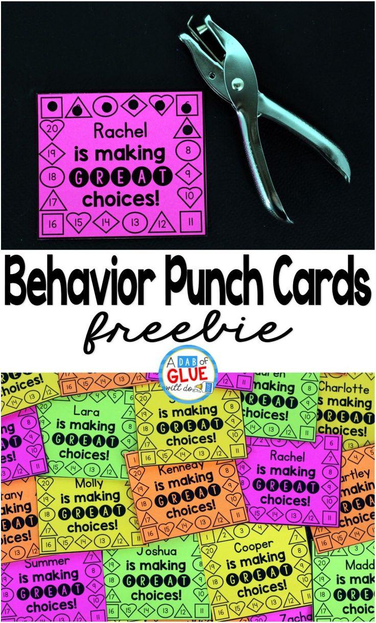 Fun classroom management idea! Free behavior punch cards.
