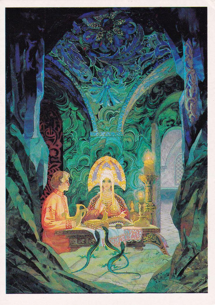 """Pavel Bazhov """"The Malachite Casket"""", illustration by V. Nazaruk, 1989 (via etsy)"""