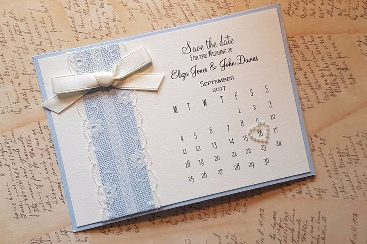"Handmade personalised Calendar style Wedding ""Save the date"", blue azur & cream #Unbranded"