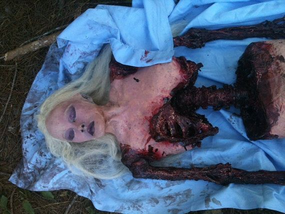 female lifesize female corspe for halloween film prop horror gory zombie meal on etsy 26000 - Gory Halloween Decorations