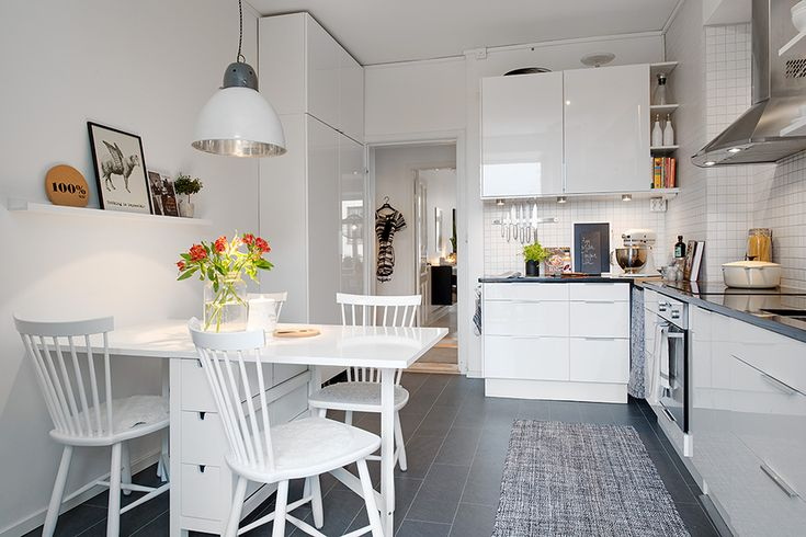 Luv...ikea picture rail idea! similar to our kitchen layout