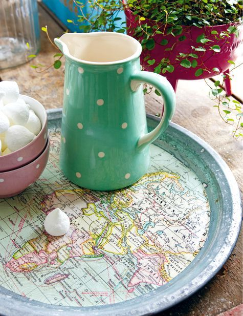 Give a tray a new look with a coastal map! http://www.completely-coastal.com/2015/07/nautical-map-decor-ideas-by-anna-ornberg.html