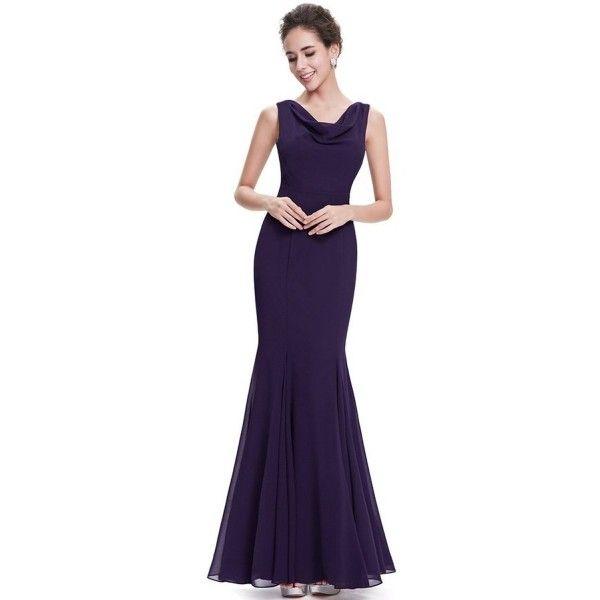 Modern Sleeveless Cowl Neck Mermaid Evening Dress ($70) ❤ liked on Polyvore featuring dresses, purple, skater skirts, purple formal dresses, holiday cocktail dresses, formal dresses and military ball dresses