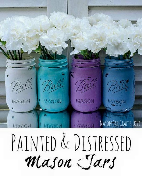20  DIY Mason Jars Flower Pots -> White Painted & Distressed Mason Jars