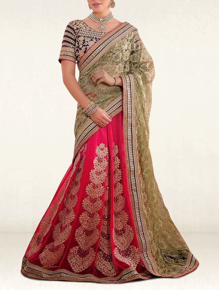 Sketch your life with colors and prints with this fascinate mehendi green and pink georgette and net wedding lehenga saree.