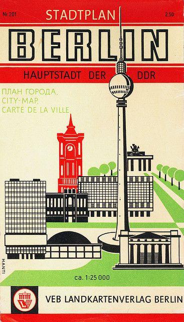 Berlin city map #vintagetravel ~ 'Hauptstadt der DDR'