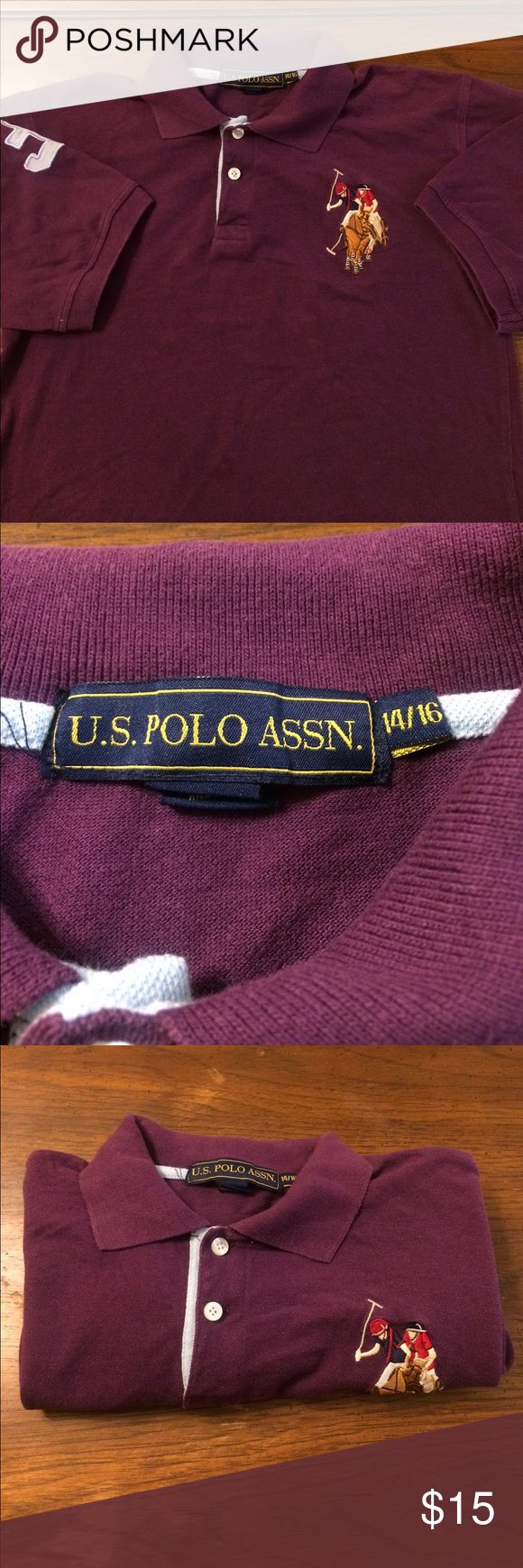 Boys 14/16 u.s polo assn. purple polo shirt Great condition no holes no stains U.S. Polo Assn. Shirts & Tops Polos