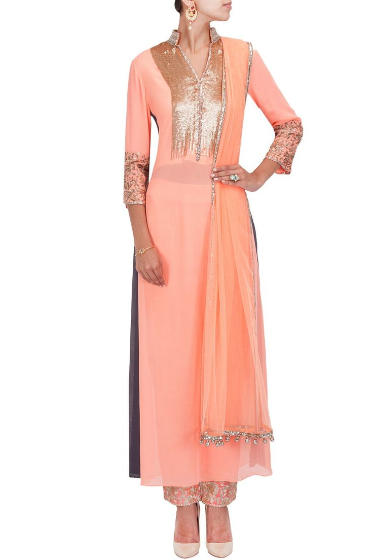 Peach and grey sequins embroidered kurta setBY MANISH MALHOTRA Shop the designer now at: www.perniaspopups... #perniaspopupshop #manishmalhotra #newcollection #softhues #stunning #fashion #amazing #style #campaign #fabulous #musthave #summerwedding #happyshopping