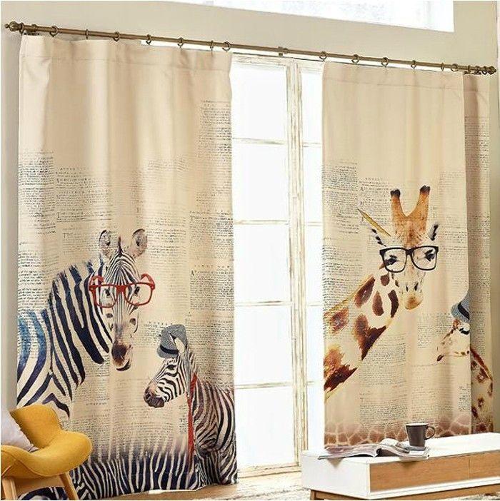 new arrival shipping modern style cotton linen curtain zebra giraffe linen curtain fabric for kids living room