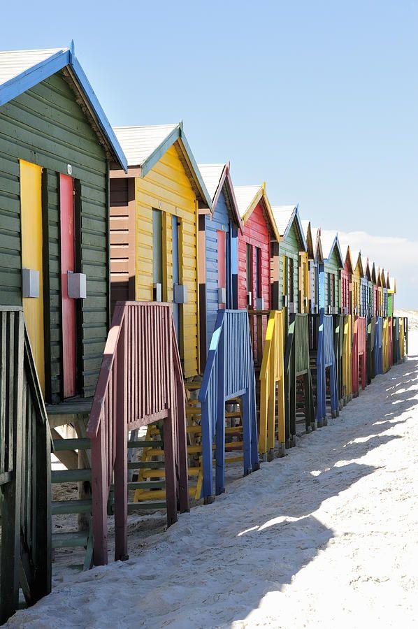 Beach Huts On Muizenburg Beach, Cape Town, South Africa