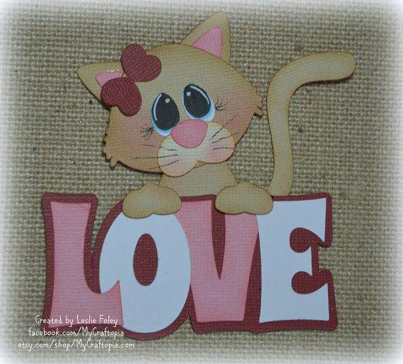 Artículos similares a Gato de San Valentín Scrapbooking Premade adorno papel Piecing en Etsy