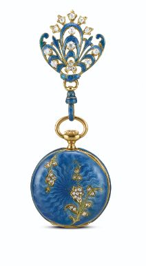 From Tiffany & Co. a Yellow Gold, Enamel and Diamond Open Faced Keyless Fob Watch, ca.1905.