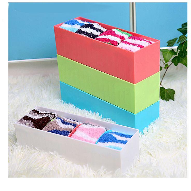 2015 New Real Caixa Organizadora Storage Box Candy Color Plastic Box With Divider Underwear Drawer Storage Organizer For Tie Bra