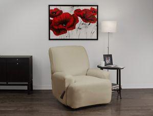 Stretch Velvet Mink Recliner Slipcover. Soft velvety surface, beige form fit slip cover upholstery for living room, beautiful interior design, chic home decor
