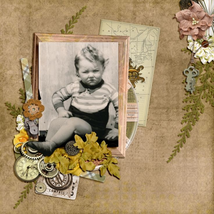 I like to celebrate the birthdays in my family with a scrapbook page of them in their younger days if I have any. For my brother Paul's birthday, who is in his 70's now I found a wonderful photo with that smushed up face he still has - LOL.   To create this layout I first