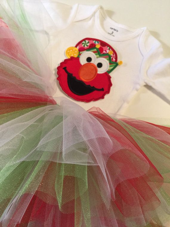 ELMO Christmas outfit Christmas Elmo onesie set by MelleeAndMeBows