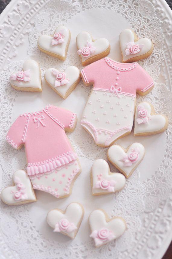 Onesie Cookie favores 12 niña para baby shower o por MarinoldCakes