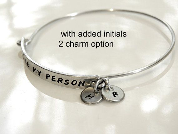 Youre My Person is hand stamped, cut and trimmed by me, on pure aluminum. Ive made this sweet bracelet into a bangle. Aluminum is lightweight but strong.  You can now add 2 small charms with a maximum of 4 letters (two on each charm). Example picture above shows 2 initial option. Leave me your initials during checkout under note to seller.  Measurements are approximate* Size 6 (small) = 62mm / 2.4 Inner Diameter  Size 7 (medium - large) = 64mm / 2.5 Inner Diameter  Size 8 (large - extra…