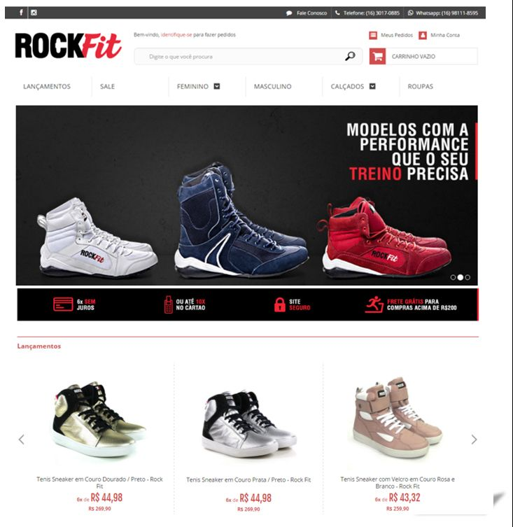 Cliente: Rock Fit  Mercado: Fábrica de Calçados. Atribuições Principais: Conceito Criativo do Logotipo e Implantação da Loja Online.