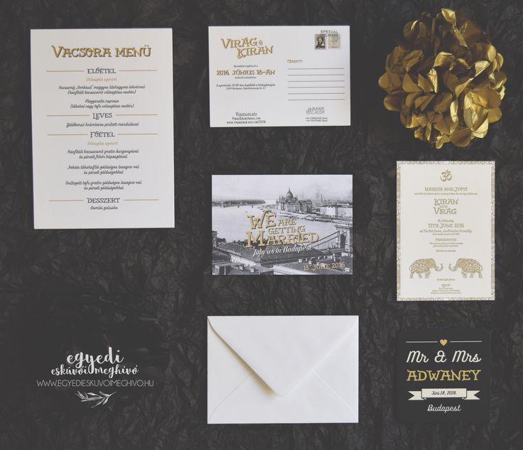 Retro style wedding stationary for a London-Budapest wedding with letterpress invitation