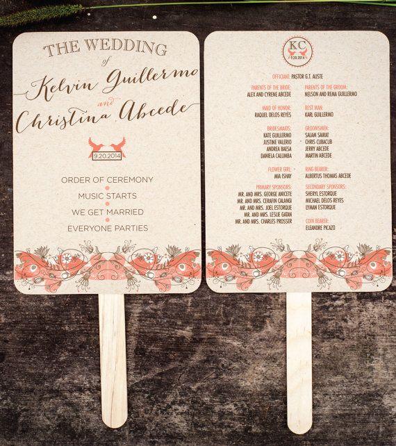 Rustic Garden Wedding Program Fans, Wedding Program, Wedding Fan, Order of Service Fan $158/50