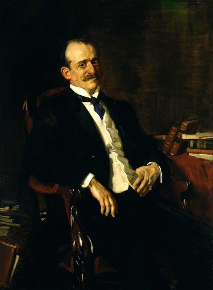 Portrait of Conde de Romanones by  José María López Mezquita (Spanish 1883-1954).......Don Álvaro de Figueroa y Torres-Sotomayor, 1st Count of Romanones, Grandee of Spain (1863-1950) was a Spanish politician, Prime Minister of Spain three times between 1912 and 1918, and president of the Senate and seventeen times minister......love those convoluted Spanish names that go on forever....