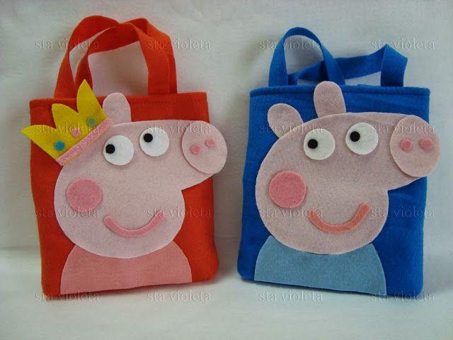 sta violeta: Lembrancinha Peppa Pig e George Pig - Sacolinha su...