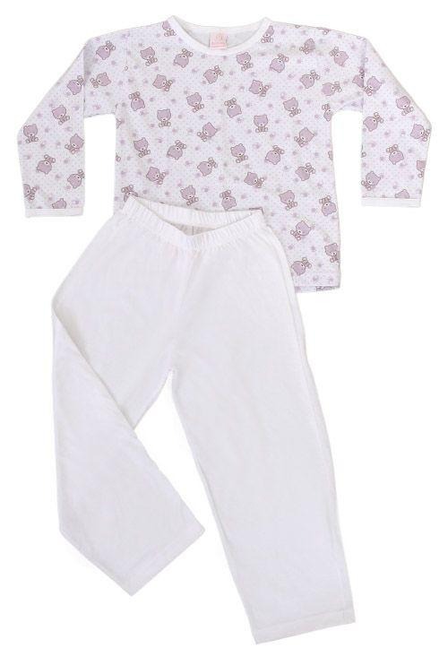 Pijama feminino infantil com estampa de ursinho.