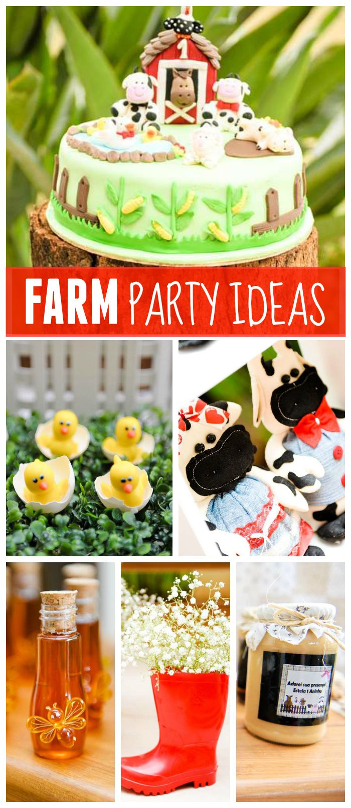 A farm boy birthday party with a fun barnyard cake and honeybee jar party favors!