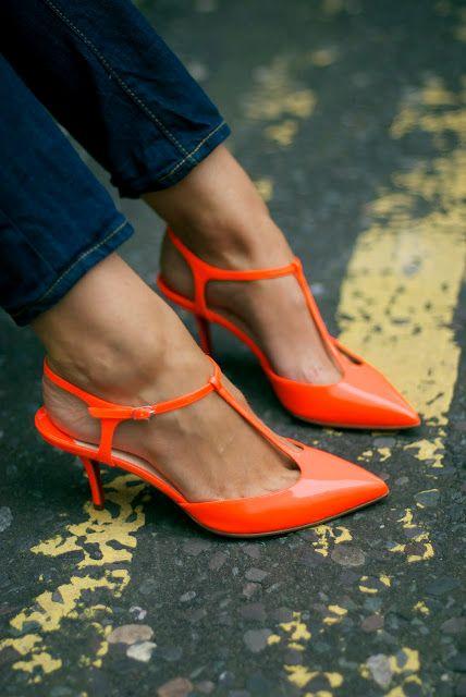 t's: Orange Heels, Orange Spots, Skinny Jeans, Zsa Zsa Bellagio, Orange Shoes, Neon Orange, Kittens Heels, Orange Pumps, Low Heels Shoes