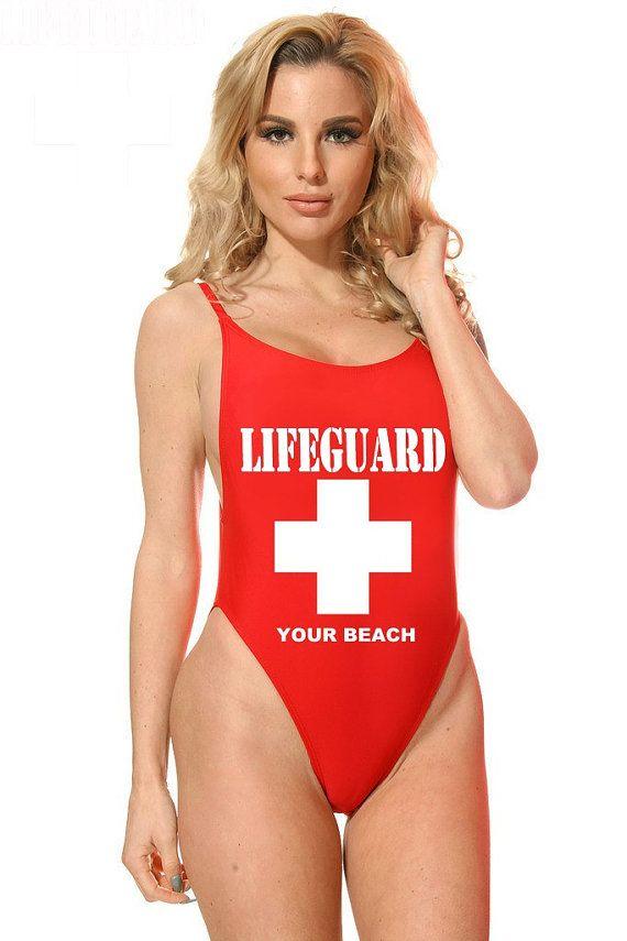 Lifeguard Custom One Piece maillot de bain - rouge ou blanc - ajouter votre nom de la plage