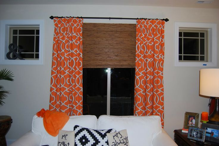 Home Chic Raleigh Orange Curtains Patterned Curtains
