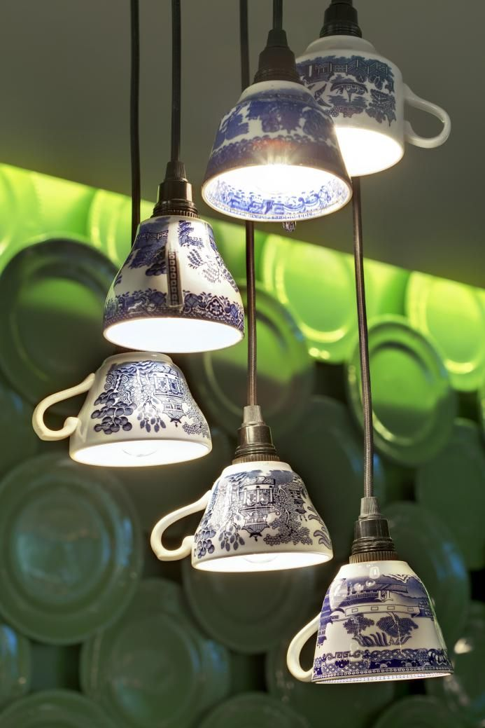 Light fixture at Rocket Bishopsgate c/o The Light Corporation. Upcycle teacup lighting fixture!