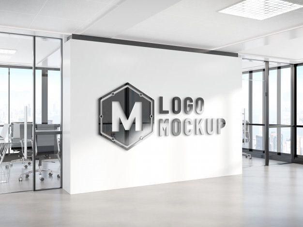 Logo On Office Wall Mockup Logo Mockup Logo Design Mockup Company Logo Wall