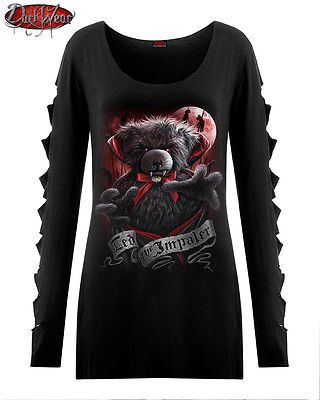 #Spiral direct new ted the impaler teddy bear #slashed top/goth/cute/dark #wear/t, View more on the LINK: http://www.zeppy.io/product/gb/2/231789697673/