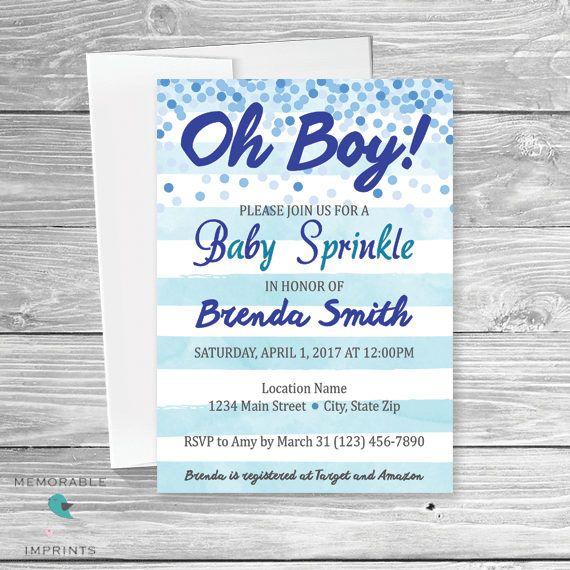baby sprinkle invitation boy blue watercolor stripes blue confetti