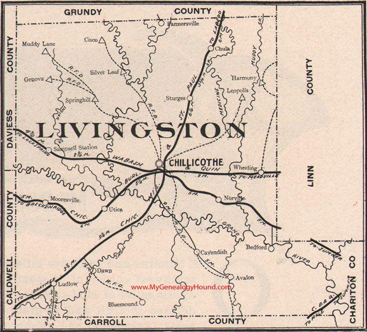 Livingston County Missouri Map 1904 Chillicothe, Utica, Chula, Mooresville,  Dawn, Wheeling