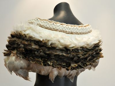 Robin Hill Kura Gallery Maori Weaving New Zealand Art Design Shoulder Korowai Duck Feathers Det