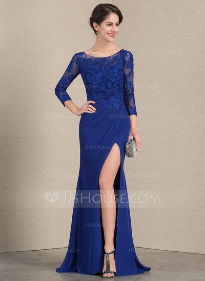 14a21357b Trumpet/Mermaid Scoop Neck Floor-Length Chiffon Lace Mother of the Bride  Dress With Beading Split Front