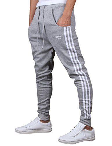 Mens Casual Track Pants Slim Fit Striped Drawstring Close Elastic Bottoms Cotton Joggers Sweatpants (S Gray)