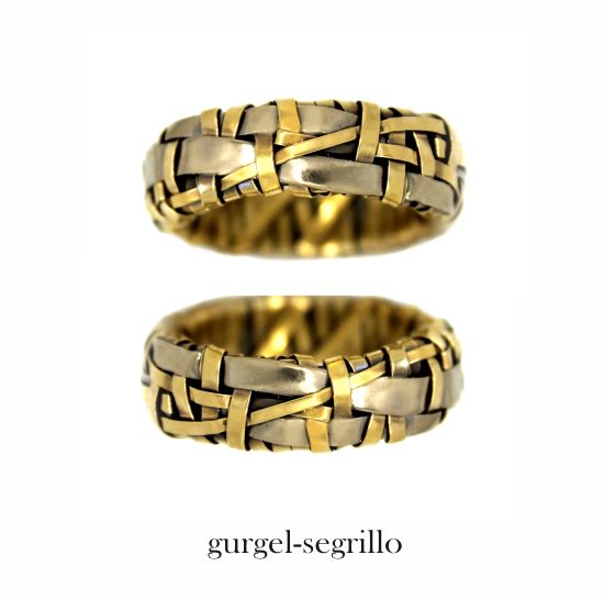 'woven' series partnership rings - celebrating Love & our interconnectedness - ring bands created by Irish-Brazilian artist designer maker P Gurgel-Segrillo