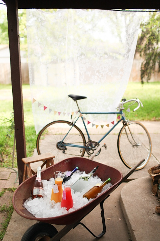 Vintage bike drink station with lace back drop. Rasy Ran Photography: A Birthday Spring Brunch at Home