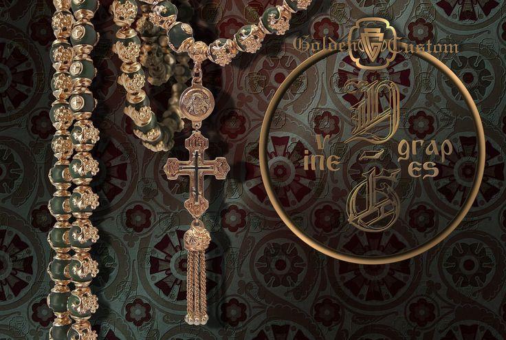 VINE GRAPES Golden Custom. gold, nephrite