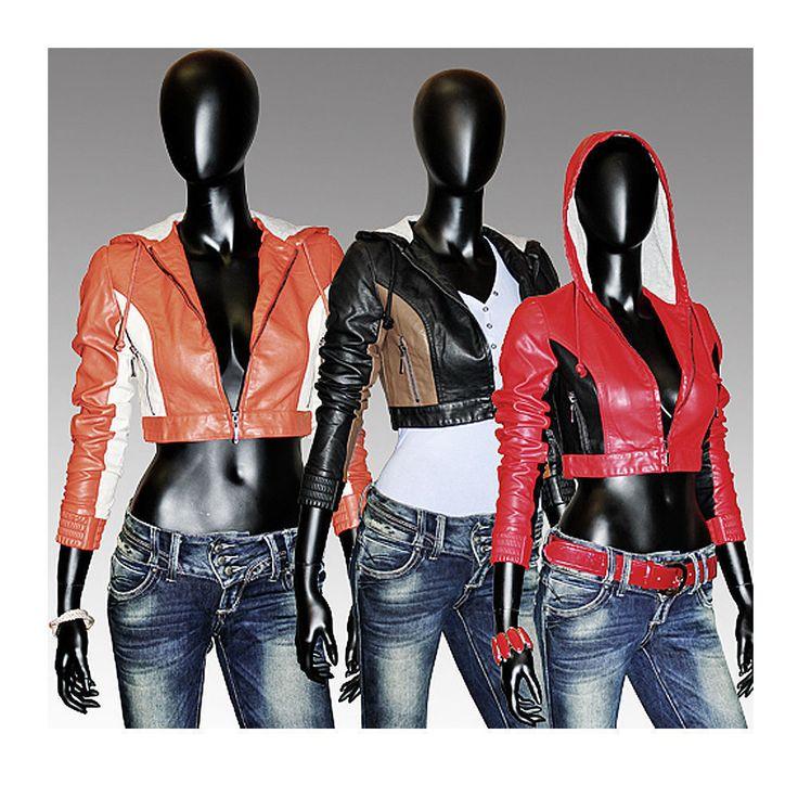 Kunstlederjacke Damen Lederimitat Jacke Biker damenjacken schwarz,orange,grün in Kleidung & Accessoires, Damenmode, Jacken & Mäntel | eBay