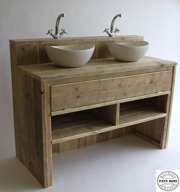 Meuble salle de bain pays bois avec clapet meubles salle - Meuble salle de bain rustique ...