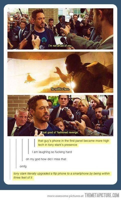 "Heck, this is how powerful Tony Stark is. | 22 Pictures That Only Fans Of ""The Avengers"" Will Find Funny"