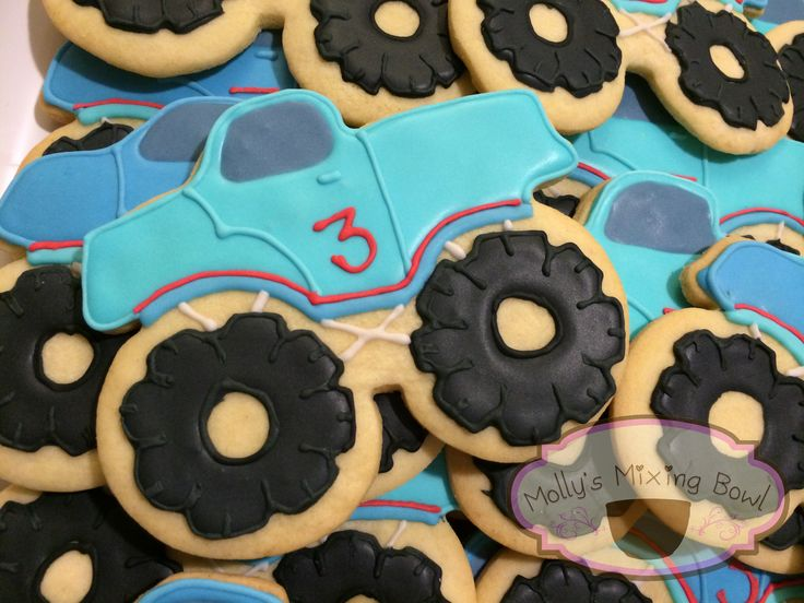 Monster truck cookies for the cutest little guy on his 3rd birthday! :) I love cookies  #decorated cookies #ilovecookies #monstertrucks